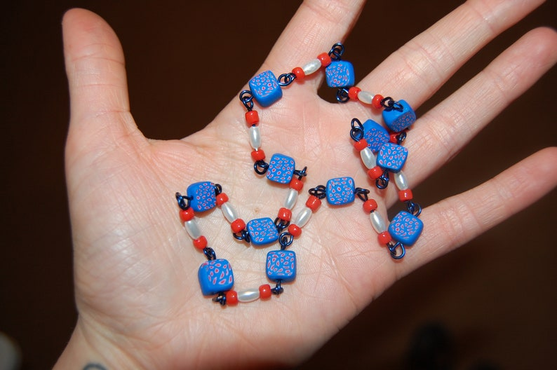 Red White Blue Bandana Handmade Fimo Clay and Glass Beaded Necklace