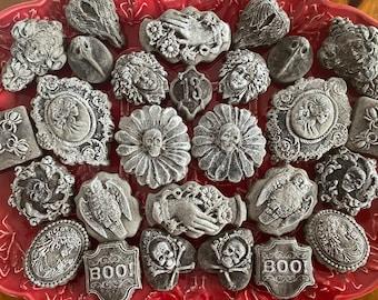 Vintage Victorian Wedding Halloween Chocolate Midnight Brownie Teacakes Valween Romantic Skull Daisy Bride