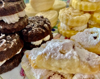 18 Assorted teacake wedding cookie table tray platter. Kolachie / Roshkie, Springerle and  Sandwich cookie petites!