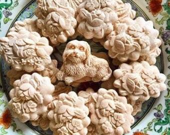 Mocha or Strawberry Fields Furever Pug or Yorkie Dog Custard Tea Cakes Springerle Cookies