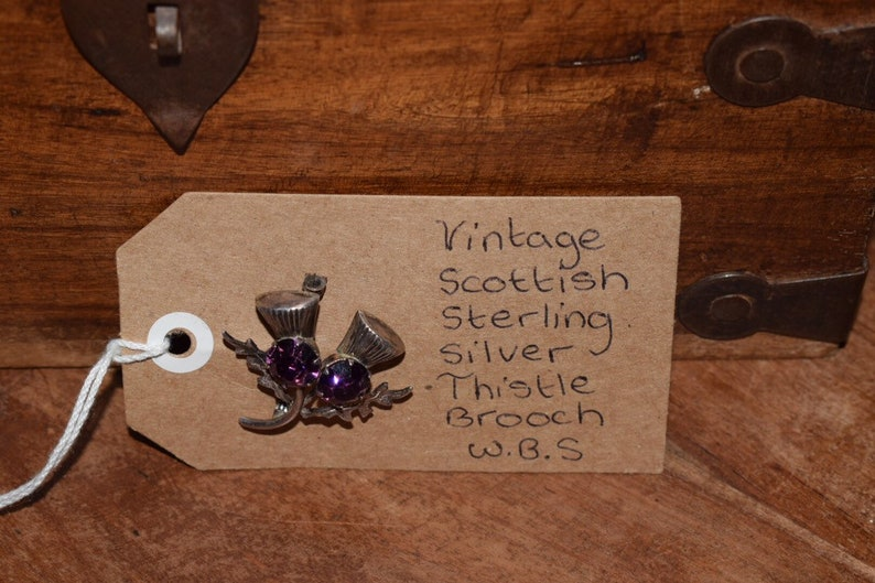Vintage thistle brooch by ward bothers silver tone purple stone scottish pin