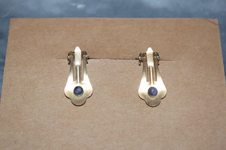 Vintage blue /& gold tone earrings clip on square 1980s retro bold design enamel