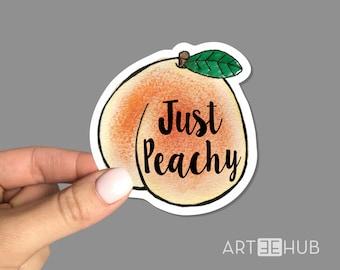 Just Peachy Sticker, Doing Fine Sticker, Laptop Sticker, Water bottle Sticker, Peach Laptop sticker, Peachy Sticker, Peachy decal