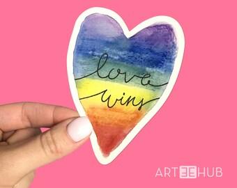 Love Wins Rainbow Sticker, Love Wins Sticker, Rainbow Sticker, Pride Flag Sticker, Heart Sticker, Rainbow, Pride Sticker
