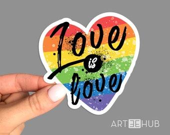 Love is Love Sticker, Love is Love Rainbow sticker,  Rainbow sticker, Pride Flag Sticker, Heart Sticker, LGBT Sticker, Pride sticker