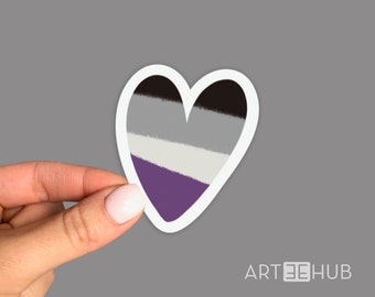 Asexuality Sticker, Asexual Sticker, Pride Flag Sticker, Rainbow Sticker, LGBTQ+ Sticker, Heart Sticker, Lack Of Sexual Attraction Sticker