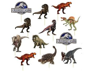 JURASSIC PARK World DINOSAUR Hower Boy Girl Cupcake Toppers Cup Cake Topper Party Decorations Supplies Favors