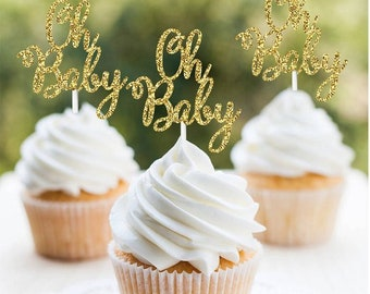 """2"""" Oh Baby Cupcake Baby Shower Cake Topper toppers party decorations supplies favors baby shower girl boy gold"""