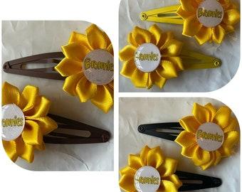 Yellow Snap Back Hair Clips 2 X Flower Brownies Girl Guiding Uniform