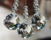 3pcs Hanging Crystal Suncatcher, Home Decor, Light Pull, Hanging Crystal Prism, Fan Pull,Home Decor,Ball with beads