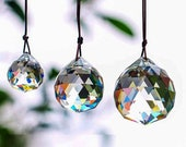 Hanging ball,Hanging Crystal Suncatcher, Home Decor, Rearview Mirror, Ceiling Light Pull,Hanging Crystal Prism,Hanging Ball,3 Sizes