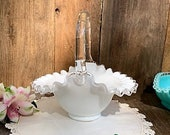 Fenton Vintage Silver Crest Clear and Milk Glass Basket