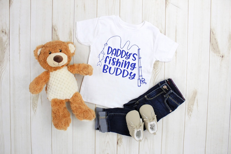 toddler clothes Cute Daddy/'s Fishing Buddy baby or kids t-shirt spring made to order custom made t-shirts girls fishing gear boys