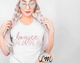 Boujee MAMA pink sparkle t-shirt