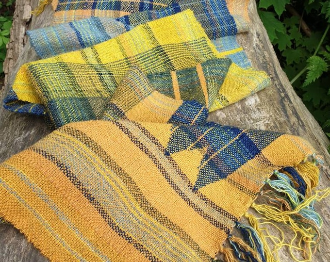 Evening stroll - naturally dyed regeneratively farmed British wool scarf /wall hanging /table runner