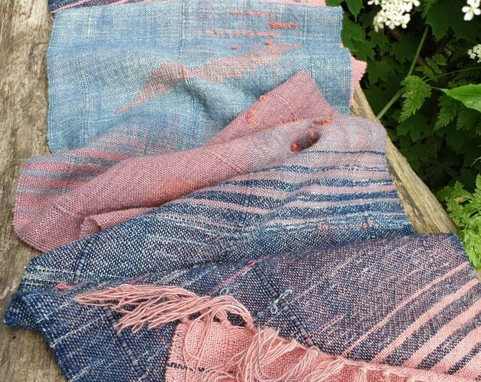 Pink sunset - naturally dyed regeneratively farmed British wool scarf/ wall hanging/ table runner
