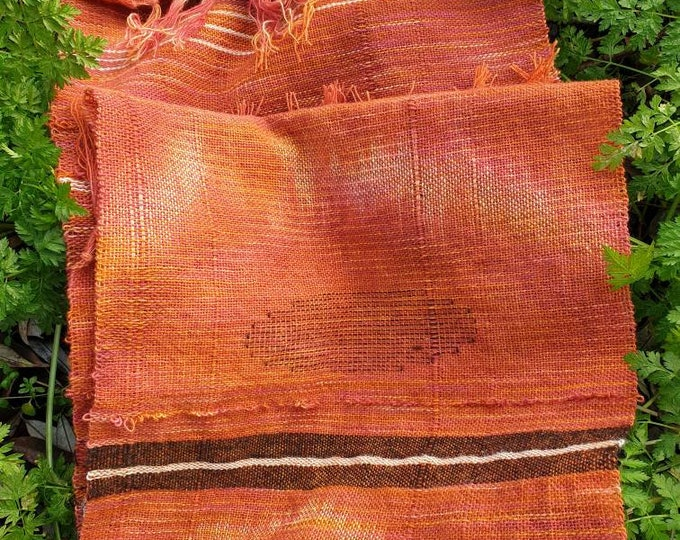 Fiery -  naturally dyed handwoven scarf / long wall hanging / table runner