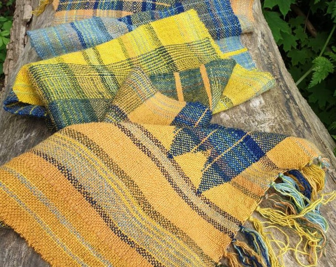Golden hour - naturally dyed regeneratively farmed British wool scarf /wall hanging /table runner