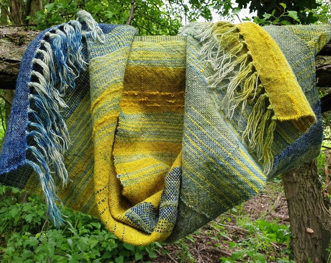 Warm tide - naturally dyed regeneratively  farmed handwoven scarf / wall hanging / table runner