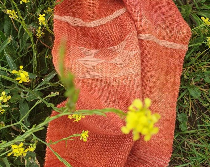 Gentle warmth - naturally dyed regeneratively  farmed handwoven scarf / long wall hanging / table runner