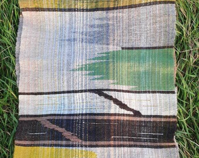 Isle3 - Organic wool handwoven  scarf / shawl / long wall hanging / table runner