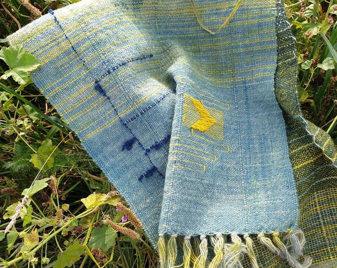 Low tide - naturally dyed regeneratively  farmed handwoven scarf / long wall hanging / table runner