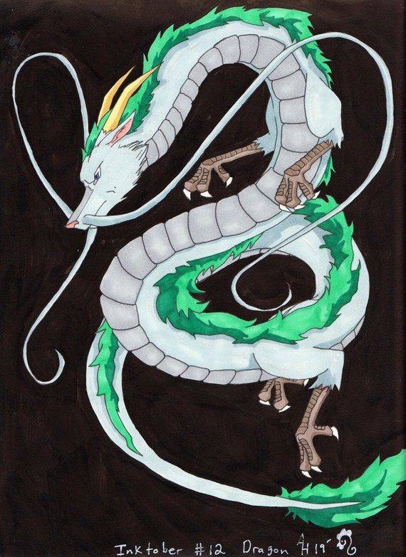 Haku Dragon Spirited Away Fan Art Drawing Etsy