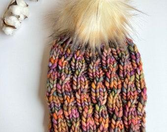 Adult Size Knit Hat Winter Hat Malabrigo Rasta Luxury Knit Beanie Twist of Fate Beanie Fur Pom Pom Piedras 100/% Merino Wool
