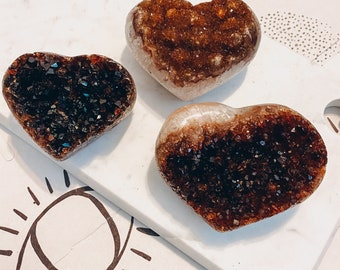 "2.75"" Citrine Druzy Heart , Crystal Healing Heart, Citrine Crystal"