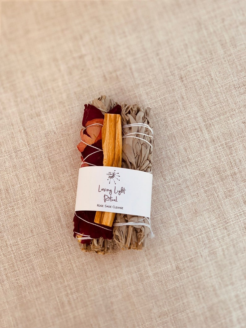 Rose Sage Bundle with Palo Santo/ Cleanse Love kit image 0