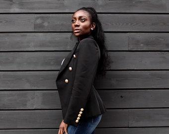 6d5bb496300f Womens jacket Womens Blazer Womens black jacket Womens gold jacket Balmain  Inspired jacket Balmain Dupe Womens formal jacket minimalist