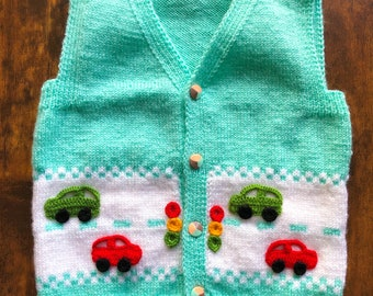 baby vestknitted baby boy topbaby knitted sweatreblue green knitted baby boy vest 6-9 monthbaby boy giftbaby clothes.sleeveless knit