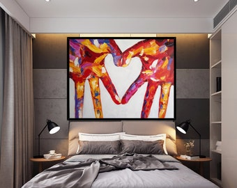 Large Modern Love Oil painting,Love Art Painting,Love Canvas Art,Lover Painting,Love Wall Art,Hang Acrylic Painting Valentine Gift
