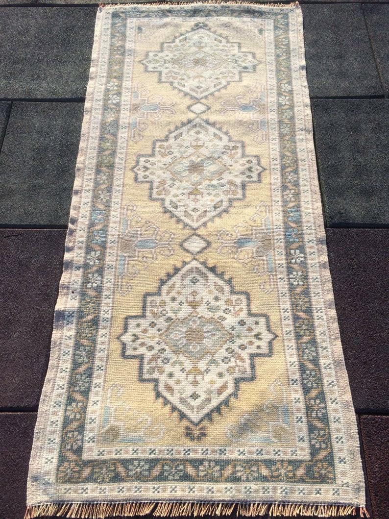 Vintage Rug Runner Rug Oushak Runner Turkish Rug Decorative Rug 4.4 x 2 ft  Hand Made Anatolian rug Pastel rug Runner rug Teppich Juttan