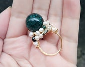 Pandora glass Ring?pearl Ring,  Wire Wrapped Ring, Any size