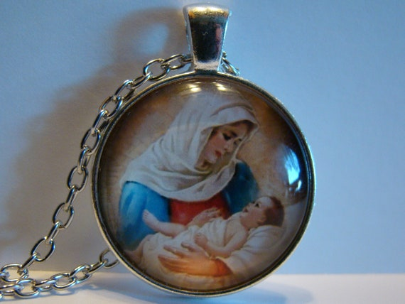 Photo Cabochon Silver Fashion Glass Necklace pendant(Virgin Mary and baby