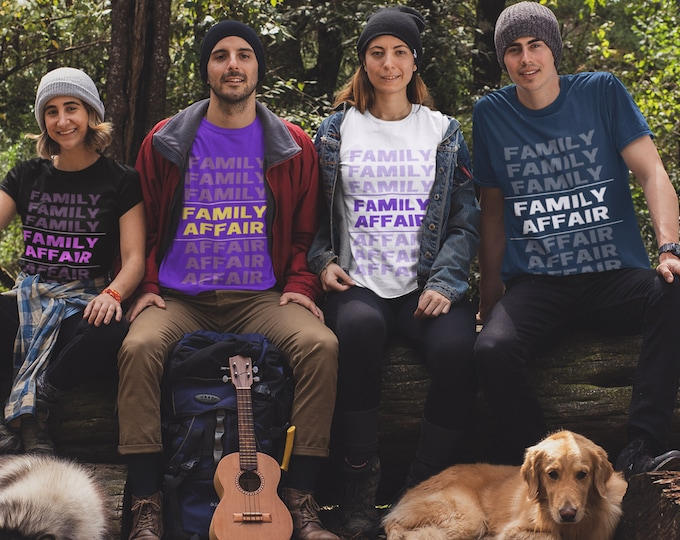 Family Affair t-shirt, Dad gift, Mom gift, purple text, Family Reunion shirt, Gift for group, Friends reunion shirt, Family gathering