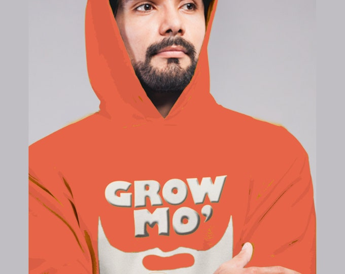 Men's Hoodie, Grow More Beard Hoodie, 2019 New Year's Resolution Hooded Sweatshirt, Beard Gang Hoodie, Gift For Men, Beard Royalty, Barber