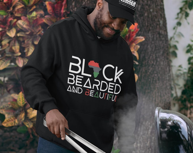 Black Bearded Hoodie, Black Bearded Beautiful Hoodie, Dad gift, Beard Gang hoodie, Gift for him, Birthday gift, Black Men gift