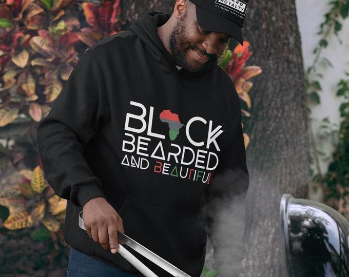 Black Bearded Hoodie, Black Bearded Beautiful Hoodie, Dad gift, Beard Gang hoodie, Gift for him, Birthday gift, Black Men gift