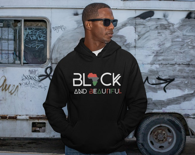 Black & Beautiful Hoodie, Black Beautiful Long Sleeves Pullover, Father's Day gift Sweater, Gift for him, Birthday gift
