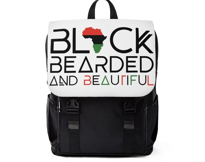 Black Bearded Beautiful Casual Shoulder Backpack, Dad gift, College Student gift, Gift for him, Birthday gift, Gift for African American Man