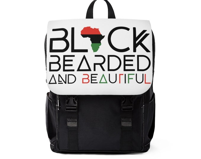 Black Bearded Backpack, Black Bearded Beautiful Casual Shoulder Backpack, Father's Day gift, Student gift, Gift for him, Birthday gift