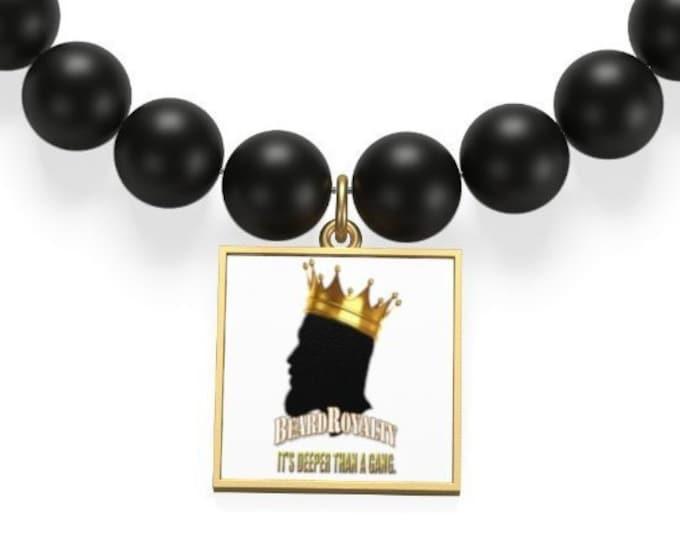 Matte Onyx Bracelet, Men's Square Bracelet, Beard Royalty Bracelet, Men's Beard Jewelry, Beard Gang Gift, 18K Gold Jewelry, Gift For Men