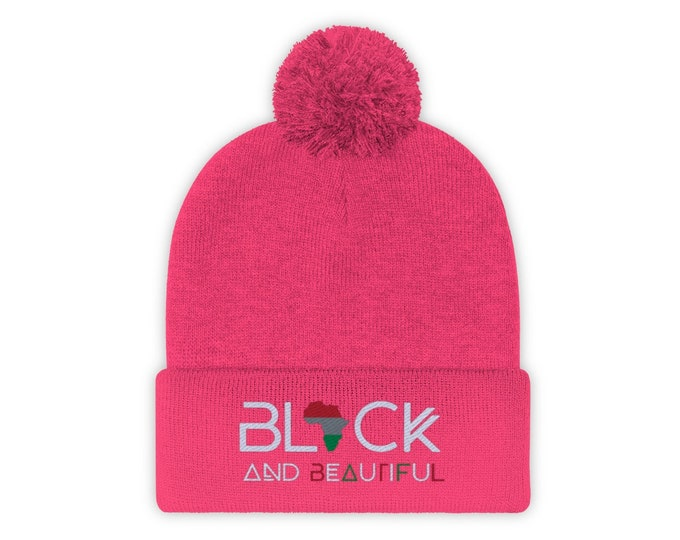 Black & Beautiful Beanie, Pom Pom Beanie, Pink White Beenie, African American gift, Black Pride gift, Black Hebrew gift, Black Mom gift