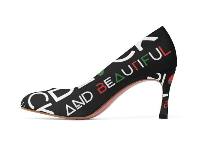 Black And Beautiful Women's High Heels Black, Mom gift, Gift for her, Girlfriend Gift, Melanin Gift, Birthday gift, African American gift