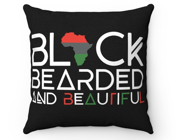 Black Bearded Spun Polyester Square Pillow, Black Bearded Beautiful pillow black, Father's Day gift, Gift for him, Man Cave decor