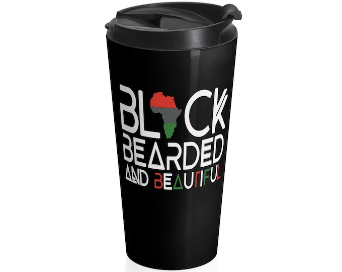 Black Bearded Beautiful Stainless Steel Travel Mug, Black Men's gift, African American Dad, Father, Husband