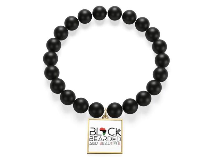 Bearded Beautiful Bracelet, Black Bearded Beautiful Matte Onyx Bracelet, Men's Jewelry, Beard Gang Gift, 18K Gold Jewelry, Gift For Men