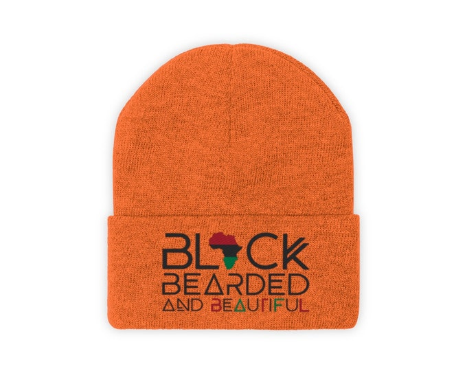 Black Bearded Beautiful Knit Beanie, Black Pride Gift, African American gift, Black Dad gift, Coach gift, Barber gift, Black Hebrew gift